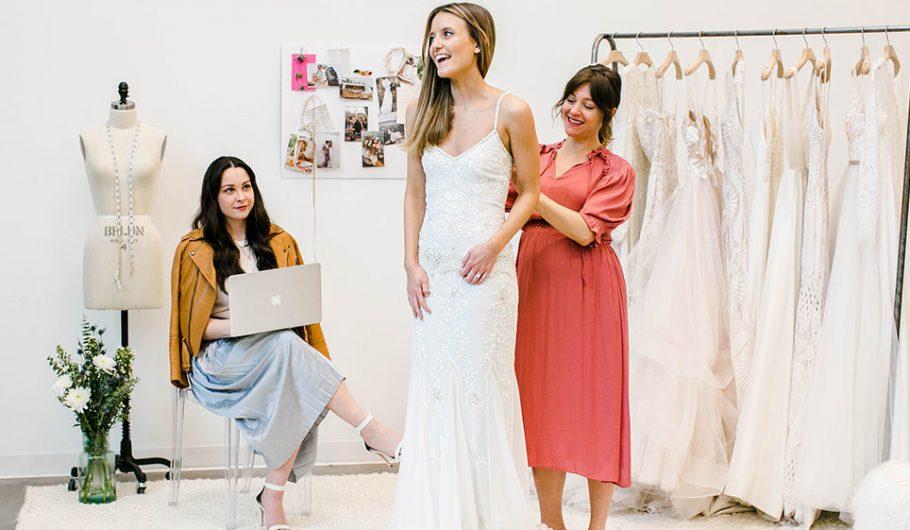 A girl selecting wedding in shop